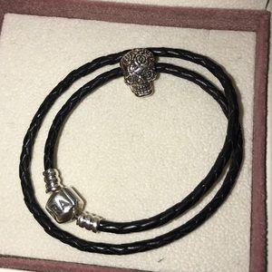 Pandora Jewelry - Pandora Leather Wrap Bracelet w/charm